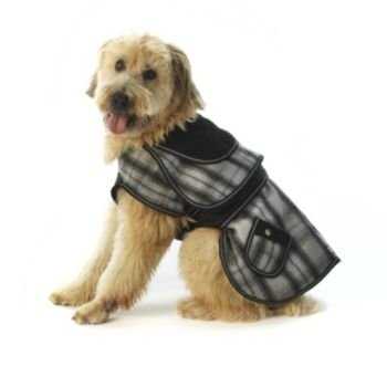 Sherlock Plaid Dog Coat - Gray - Fleece Lined Corduroy Dog Coat