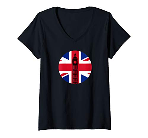 (Womens London Big Ben Union Jack Vintage UK Flag British Art Gift V-Neck T-Shirt)