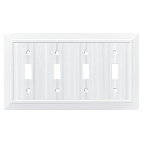 Quad Switch Wall Plate - Franklin Brass W35275-PW-C Classic Beadboard Quad Switch Wall Plate/Switch Plate/Cover, Pure White