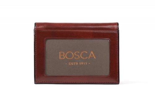 Bosca Mens Old Leather - Bosca Men's Old Leather Double I.D Trifold Wallet (Dark Brown)