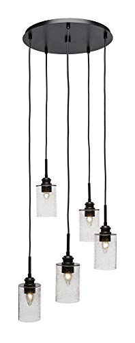 - Toltec Lighting 1175-ES-300 Edge - Five Light Mini Pendant, Espresso Finish with Clear Bubble Glass