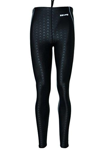 Men's Base Compression Diving Leggings Pants Swimming Long Pants Surfing Tights - XL - Black (grey stripe)
