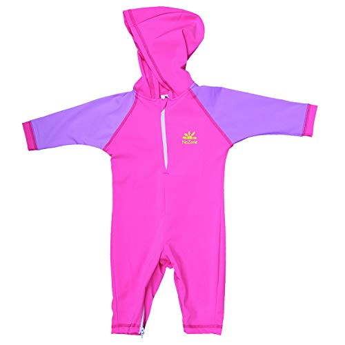 Nozone Kailua Sun Protective Hooded Baby Girl Swimsuit in KO Pink/Lavender, 12-18 mo.