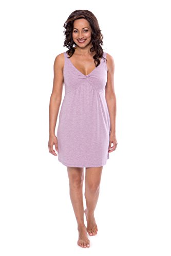 Women's Bamboo Viscose Nightgown - Luxury Sleepwear by Texere (Romanciful, Heather Lilac, X-Large) for Wife Mom Sister TX-WB041-001-21P1-R-XL