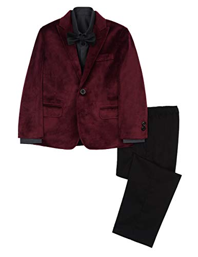 Kenneth Cole Boys' Little 4-Piece Dress Suit Set, Bordeaux -