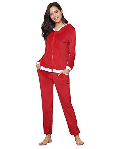 (Aibrou Women's Velour Sweatsuit Set Active Casaul Hoodie Pants Tracksuit Set Red)