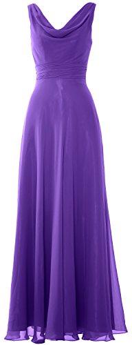 MACloth Women Long Cowl Neck Wedding Party Bridesmaid Dress Formal Gown Violett OwWMzin