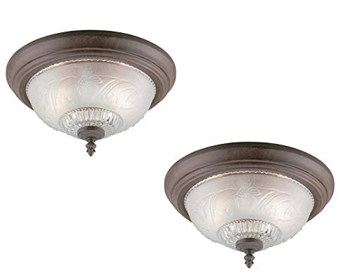 Westinghouse Lighting Two-Light Flush-Mount Interior Ceiling Fixture, Sienna Finish with Embossed Floral and Leaf Design Glass (Sienna Pack of 2)