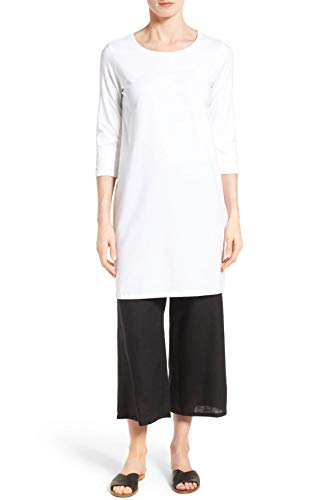 Eileen Fisher White Organic Cotton Stretch Jersey Jewel Collar Tunic Size PL MSRP $138