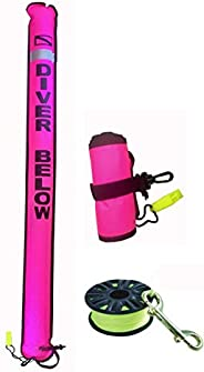 DiveSmart 7ft Scuba Diving Closed Bottom Surface Marker Buoy (SMB) with High Visibility Reflective Band, Strob
