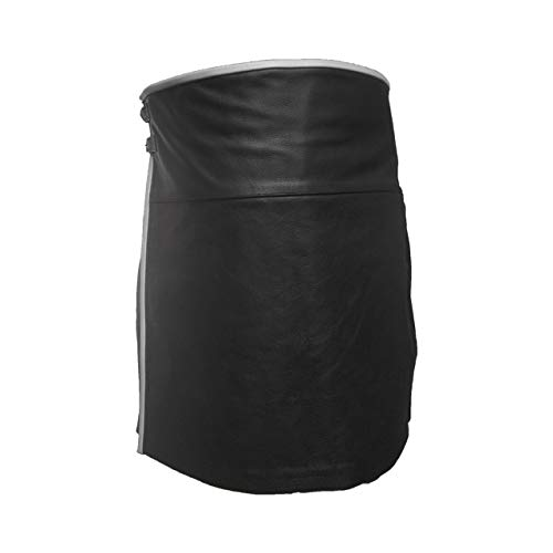 Mens Real Black Leather Kilt Wrap Up Utility Kilt Scottish Kilt LARP with White Piping