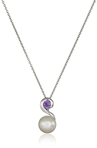 Sterling Silver 8-9mm White Button Freshwater Cultured Pearl and Dark Amethyst Cubic Zirconia Swirl Drop Pendant Necklace, 18