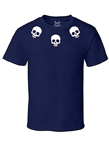 Gs-eagle Men's Collared Skulls Graphic T-Shirt Large Navy