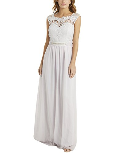 Bubble Hem Baby Doll - LIPSY Womens Jasmine Jewel Waist Maxi Dress Silver US 10 (UK 14)
