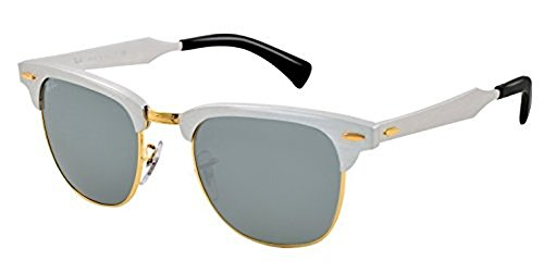 Ray-Ban Clubmaster Aluminum RB 3507 Sunglasses Brushed Silver / Arista / Grey Mirror 51mm & HDO Cleaning Carekit - 3507 Clubmaster