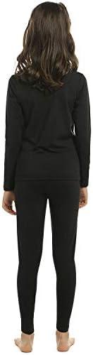 Girls Thermal Underwear Set Kids Long Johns Fleece Lined Base Layer Top & Bottom