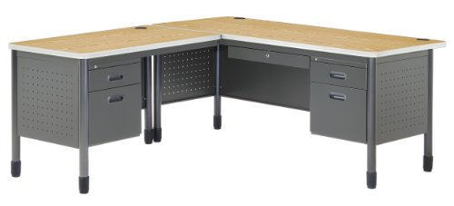 OFM Mesa Series Single Pedestal L-Shaped Desk with Left Pedestal Return with Laminate Top, in Oak (66366L-OAK) from OFM