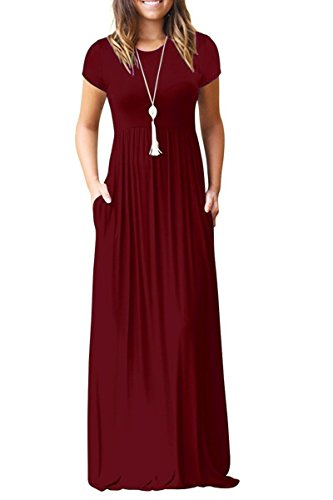 Euovmy Women's Casual Short Sleeve Loose Plain Maxi Dresses Long Dresses with Pockets Wine Red - Stretchy Long Dress Maxi