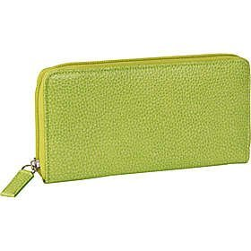 Budd Leather Pebble Grained Leather Large Zip Around Wallet (Lime Green) Budd Leather Pebble Leather