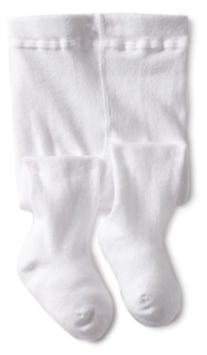 Jefferies Socks Baby Girls' Seamless Organic Cotton Tights, White, 18 24 -