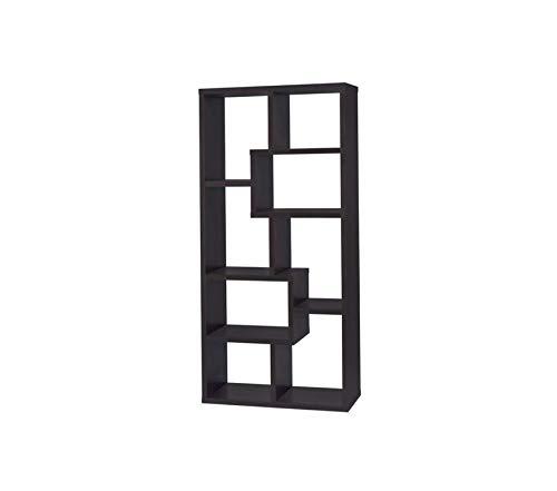 Deluxe Premium Collection Asymmetrical Cube 8-Shelf Bookcase Cappuccino Decor Comfy Living Furniture