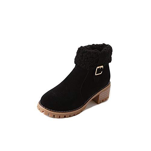 Botines de tacón Redondo con Punta Redonda para Mujer, Botines Cortos, Negros, 35: Amazon.es: Zapatos y complementos