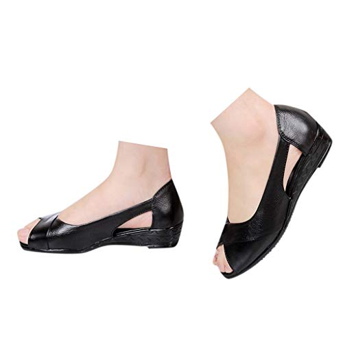 (Veodhekai Womens Flats Sandals Low Heel Wedge Shoes Fish Mouth Comfortable Sandals Flats Wedges Sandals Black)