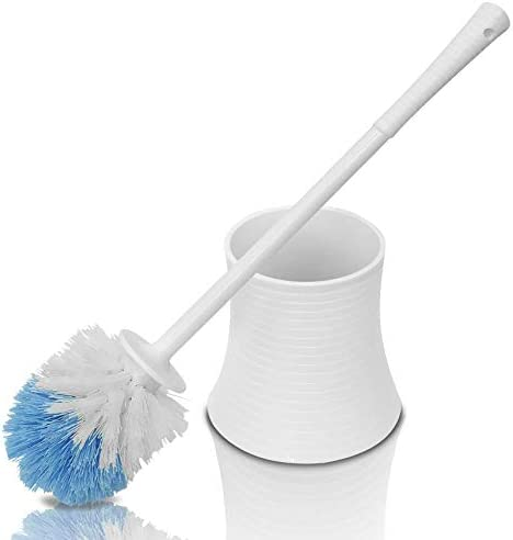 Chimpy Leakproof (no Hole in Holder) Toilet Brush SetHolder White Pearl Plastic Bathroom Bowl Cleaner and Base Great Grip Strong Bristles - Perfect for a Completely Clean Bathroom