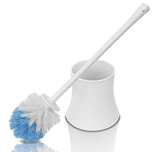 Leakproof (no Hole in Holder) Toilet Brush Set with Holder, White Pearl, Plastic - Chimpy - Bathroom Bowl Cleaner and Base, Good Grip Strong Bristles