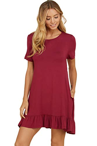 (Annabelle Women's Short Sleeve Round Boat Neck Ruffle Hem Short Dress with Pockets Berry Small D5420)