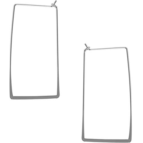 Humble Chic Rectangle Hoop Earrings for Women - Hypoallergenic Long Square Geometric Thin Wire Threader Drop Dangles, Rectangle 925 White, Sterling Silver-Electroplated ()