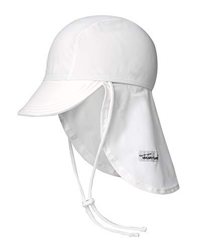 (Vaenait baby Infant & Kids Boys Sun Protection Sporty Flap Swim hat UV Flap Cap White S)