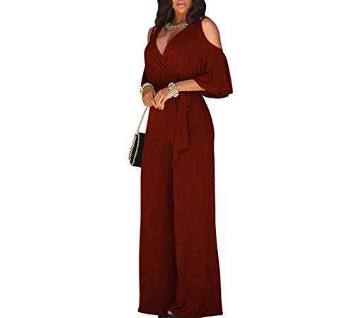 Lkous+Women%27s+Sexy+Deep+V+Neck+Cold+Shoulder+Wide+Leg+Jumpsuit+With+Belt