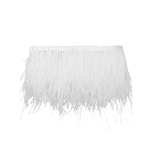 CHICTRY Ostrich Feathers Trims Fringe with Satin Ribbon Tape DIY Dress Sewing Crafts Cape Stole Embellishment Costumes Decoration White 2M ()