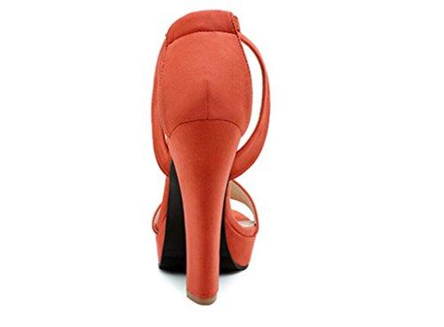 38 Compras Señoras Pink 12cm Thick 36 Orange Rocío Pu Las Palabra Tres Sandalias Colores Xie La De Partido Impermeabiliza Puta Los Tabla Del Verano Hebilla Alto Y Talón qxHt64g