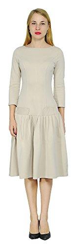 Marycrafts Women's Drop Waist Dress Retro 1920s Pleated Flapper Gown 10 Tan (Drop Waist Womens Dress)