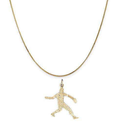 14k Baseball Player Charm - 14k Yellow Gold Baseball Player Pendant on a 14K Yellow Gold Curb Chain Necklace, 20