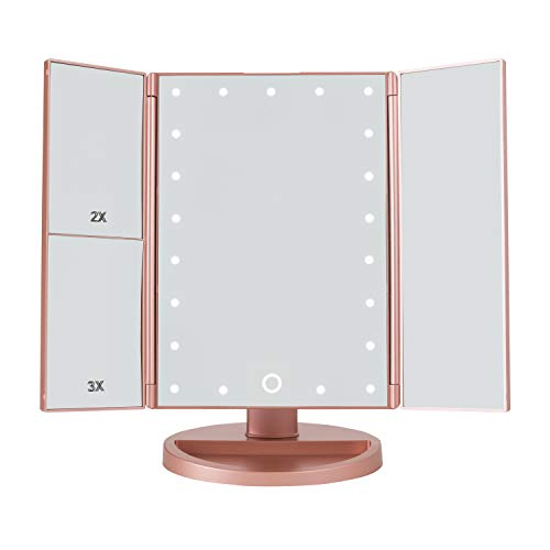 Makeup Mirror with 21 LED lights,3x/2x Magnification,Trifold Mirror, 180° Adjustable Rotation, Dual -