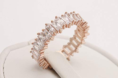 Turkish Handmade Jewelry Special Baguette Topaz 925 Sterling Silver Rose Gold Band Ring Gift for Her Ring Size Options