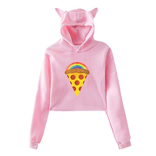 WEIPING LF Raibow Magic Pizza Hoodie Cat Ear Sweater Exposed Navel Casual Hooded for Womens -