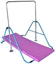 GymPro Kids Gymnastics Bar Kip Bar w 2x6 Tumble Mat Horizontal Bar Jungle Gym Expandable Junior Training Bar I