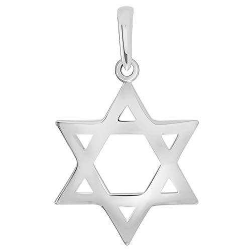 - Polished 14k White Gold Simple Jewish Charm Star of David Pendant (Small)