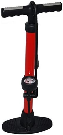 Bicycle WORKSHOP Track Pump R120 PSI cycle floor pump With Gauge suits all valves RED