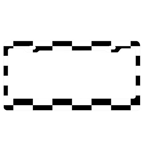 YUMHlicenseplateframeLL Checkered Flag Chequered Flag Motor Sport Checkerboard Pattern Win Winner Racing Cars Race Finish Line Black Universal Aluminum Metal License Plate Frame,