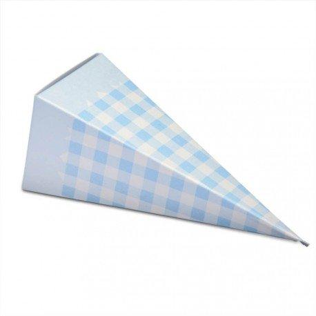 10Stück Cones Gastgeschenke Kartonage Karo Vichy weiß und blau, Kornett Höhe gefaltet 11,5cm