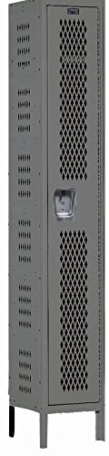 Hallowell, Unassembled Single Tier Vented Locker Three Wide, Lkr-Gym-1T3W152172, Opening Size W X D X H: 15 X 21 X 72, Nmbr Of Openings: 3, Color: Beige, Lkr-Gym-1T3W152172