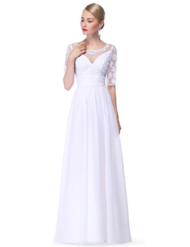 Ever-Pretty Womens Long Sleeve Illusion Neckline Conservative Prom Dress 12 US White