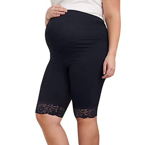 Women's Seamless Lightweight Maternity Underwear Lace High Stretch Boyshort Panty -
