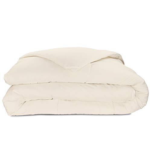 (Cosy House Collection Luxury Bamboo Down Alternative Comforter - Hypoallergenic - Plush Microfiber Fill - Machine Washable Duvet Insert - Cream - Full/Queen)