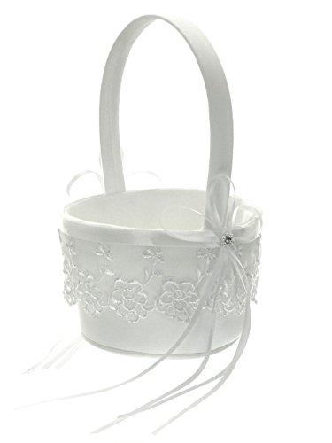 White Floral Basket - 6
